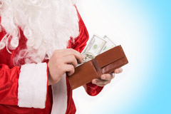 Close-up of Santa's hands with wallet while counting money